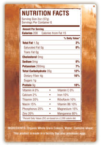 Jovial Pasta Nutrition Facts