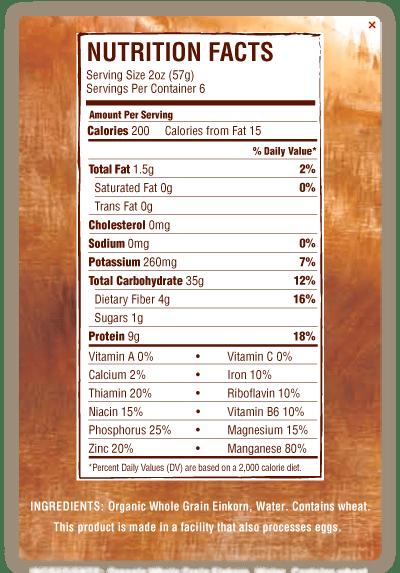 Whole Grain Pasta Food Label