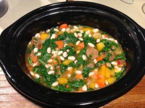 wheat bean kale corn soup